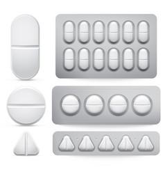 Medicine pills set tablets vector