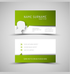 Modern simple green business card template with vector