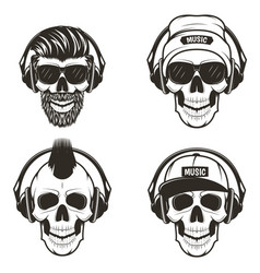 music skull front view set hand drawn vector image