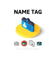 Name tag icon in different style vector