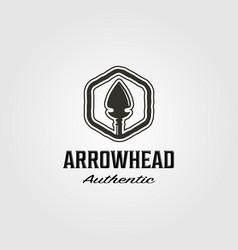 Native american arrowhead logo hunt design vector