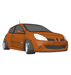 orange renault clio on white background vector image