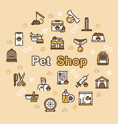 pet service color linear icons set vector image