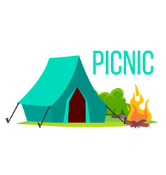 picnic bonfire and tent summer vacation vector image