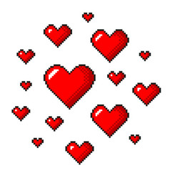 pixel art red hearts detailed isolated vector image