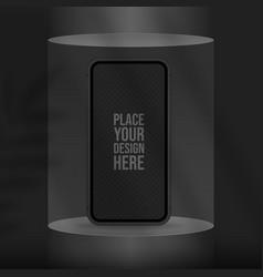 podium for smartphone presentation in black color vector image