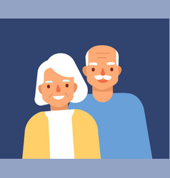 Portrait of cute happy elderly couple smiling old vector