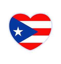 puerto rico flag in a shape heart icon flat vector image