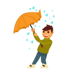 Rain weather boy happy under umbrella flat vector