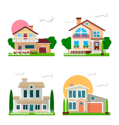 residential houses with gardens colorful set on vector image