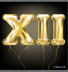Roman 12 number gold foil balloon xii form vector