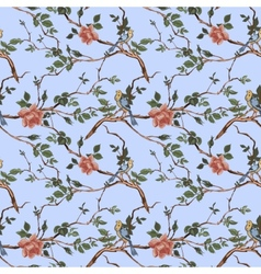 Rose blossom branches with bird seamless pattern vector image