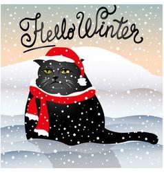 Sad cat sitting in snow vector