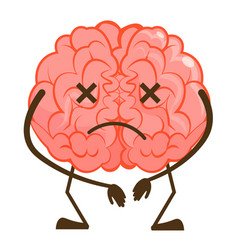 Sad frustrated brain emoticon isolated on white vector