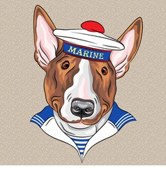 Sailor dog BullTerrier breed vector