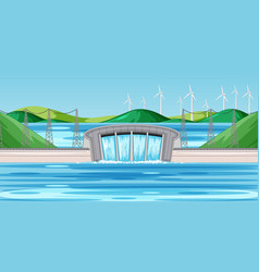 Scene with dam and wind turbines on hills vector