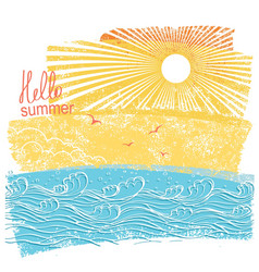 sea waves and sun of sea landscape vector image