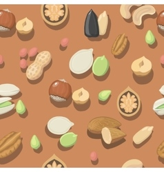 Seamless pattern nuts hazelnut almonds vector