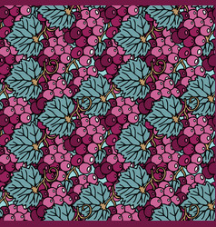 Seamless pattern with bunch grapes vector