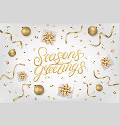 seasons greetings hand written lettering vector image