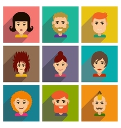 Set of flat web icons with long shadow haircut vector