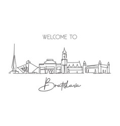 single continuous line drawing bratislava city vector image