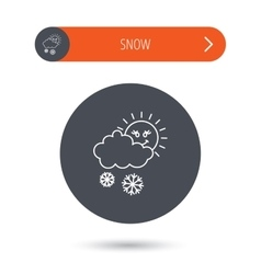 Snow with sun icon Snowflakes with cloud sign vector image