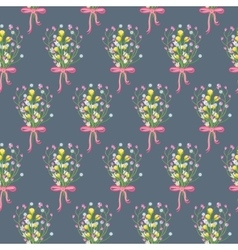 Spring wild flower bouquet seamless pattern vector image