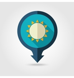Sun pin map flat icon Summer Vacation vector