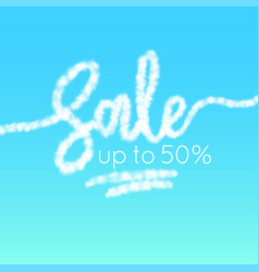 The word sale is written in the sky realistic vector