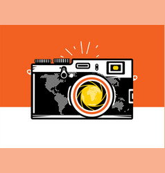 travel photography camera with globe vector image