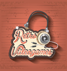 Video game retro with headset vector
