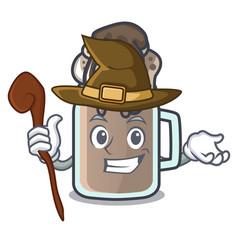 Witch milkshake mascot cartoon style vector