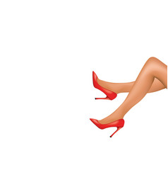 Woman legs with red high heels shoes vector