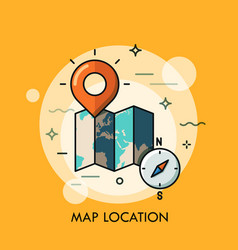 World map destination point pin and compass vector