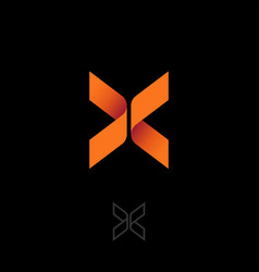 X letter butterfly origami emblem orange ribbon vector