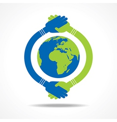 Businessman handshake around an earth stock vector image