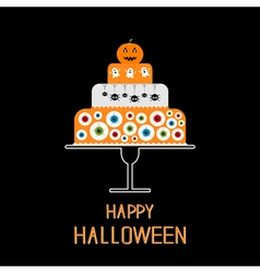 Cake with pumpkin ghost spider web and eyeballs vector image