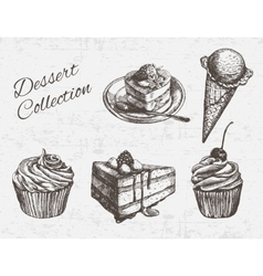 Hand drawn dessert collection vector image