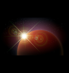 space background with red planet and rising star vector image
