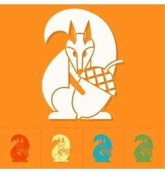 Squirrel Holding Acorn vector image