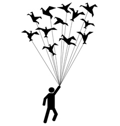 symbol people carried by flying paper birds vector image vector image
