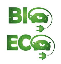 symbols bio eco cars vector image vector image