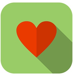 Flat heart icon Green background with rounded vector image vector image