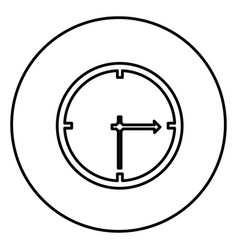monochrome contour circular frame with wall clock vector image vector image