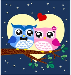 owl couple at tree vector image vector image