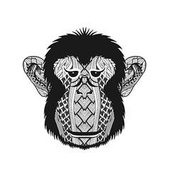 Zentangle stylized head Monkey face Hand Drawn vector image