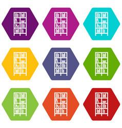 bookcase icon set color hexahedron vector image