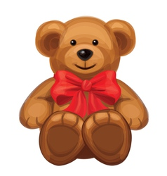 cute brown bear with red bow vector image vector image