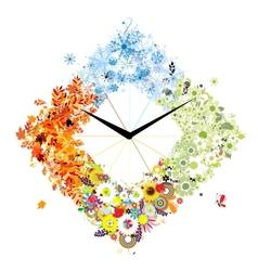 Design of clock Four seasons concept vector image